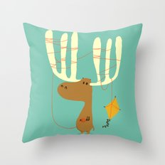 A moose ing Throw Pillow