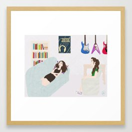 girls in the moon Framed Art Print