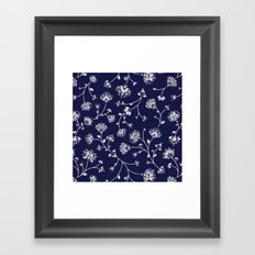 Indigo Floral Trail Framed Art Print