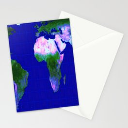 World Map : Gall Peters Stationery Cards
