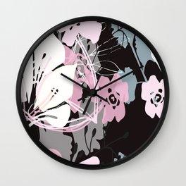 prink floral Wall Clock