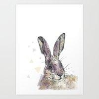 hare Art Prints featuring Hare by Anya Raczka
