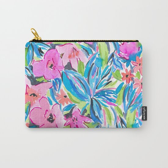 Flaunting Floral Aqua Carry-All Pouch