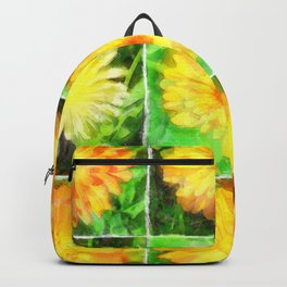 Watercolour Collage of Yellow And Orange Marigolds Backpack