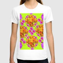 Chartreuse Color Golden Daffodil Rose Art T-shirt