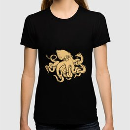 Giant Octopus Fighting Hydra Drawing T-shirt