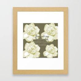 Scripture Gray,White Rose Framed Art Print