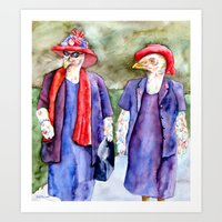 Chickens in Red Hats Art Print