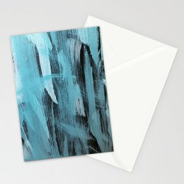 Turquoise Aqua Abstract Painting With Broad Brush Strokes Stationery Cards