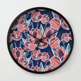 Papercut tulips Wall Clock