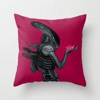 xenomorph Throw Pillows featuring Xenomorph by Sudjino