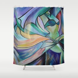 Middle Eastern Belly Dance With Pastel Veils Shower Curtain