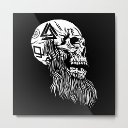 Viking Skull with tattoos and long beard Metal Print
