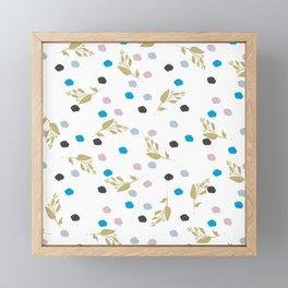 Chic gold glitter pink black blue brushstrokes floral Framed Mini Art Print