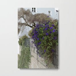 Purple Petunias on the Wall Metal Print