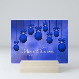 Merry Christmas Ornaments Bows and Ribbons – Blue Mini Art Print