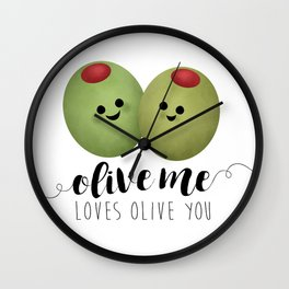 Olive Me Loves Olive You Wall Clock
