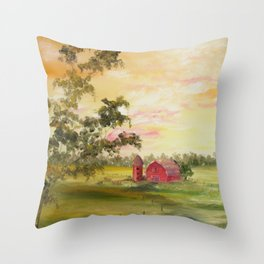 Red Barn, Farm Painting, by Faye Throw Pillow