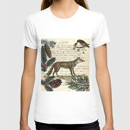 western country fairy rustic woodland nursery winter pine forest animal fox T-shirt