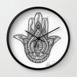 Hamsa hand Illustration (Evil Eye) protection/good luck - By Ashley Rose Standish Wall Clock