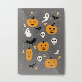 Pumpkin Party in Gray Metal Print