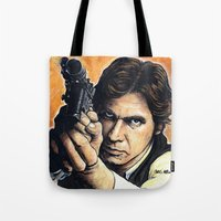 han solo Tote Bags featuring HAN SOLO by CHRIS MASON