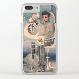 Moon Man Painting Clear iPhone Case