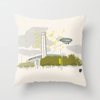 kris tate Throw Pillows featuring Tate Modern by KlaraBowPiechocki
