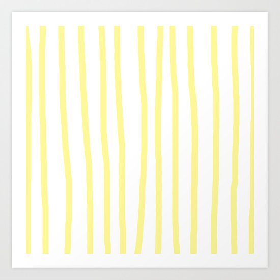 Simply Drawn Vertical Stripes in Pastel Yellow Art Print