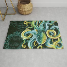Green Octopus Vintage Map Chic Watercolor Art Rug