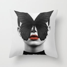 BLACK BUTTERFLY Throw Pillow