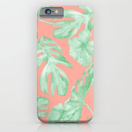Tropical Palm Leaves Hibiscus Flowers Coral Green iPhone Case