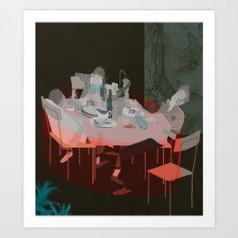BLOOD UNDER THE TABLECLOTH Art Print