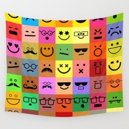 Square Emoji Faces Wall Tapestry