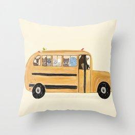 little yellow bus Throw Pillow