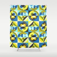 pacific rim Shower Curtains featuring pacific by ELLEN GIGGENBACH