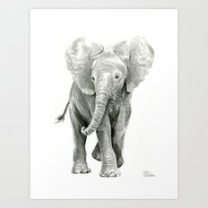 Baby Elephant Watercolor Art Print