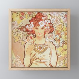 Rose by Alphonse Mucha 1897 // Vintage Girl with Red Hair Floral Love Design Framed Mini Art Print