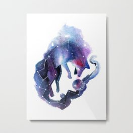 Galaxy Fox Metal Print