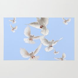 WHITE PEACE DOVES IN SKY BLUE COLOR Rug