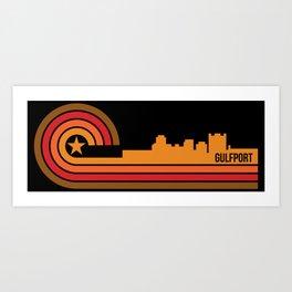 Retro Gulfport Mississippi Skyline Art Print