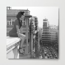 Woman on High, female form cityscape black and white photograph / photography Metal Print