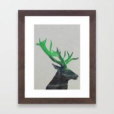 Deer In The Aurora Borealis Framed Art Print