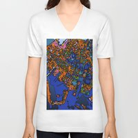 maps V-neck T-shirts featuring Funky Maps, NEW YORK by MehrFarbeimLeben