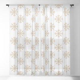 Snowflakes (Tan & White Pattern) Sheer Curtain
