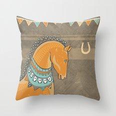Horse Head - Chocolate Throw Pillow