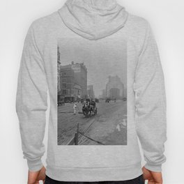 1900 Times Square, NYC, Longacre Square, cityscape black and white photograph Hoody
