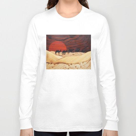 Desert landscape marquetry art Long Sleeve T-shirt