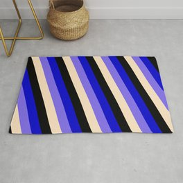 Blue, Medium Slate Blue, Bisque & Black Colored Stripes Pattern Rug
