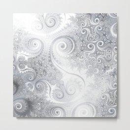 White Silver Fractal Spiral Glow Metal Print